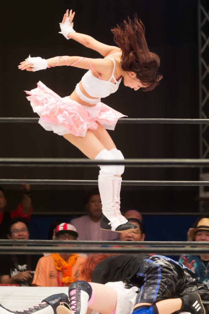 Interfering DEATHyama-san's fall by Double Foot Stamp from the top of the corner / Riho on STARDOM High Speed Championship match 07 (8/10/2019)