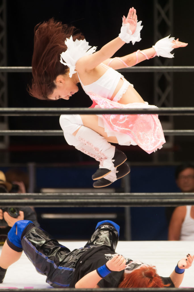 Quick double foot stamp by Riho / Riho on STARDOM High Speed Championship match 08 (8/10/2019)