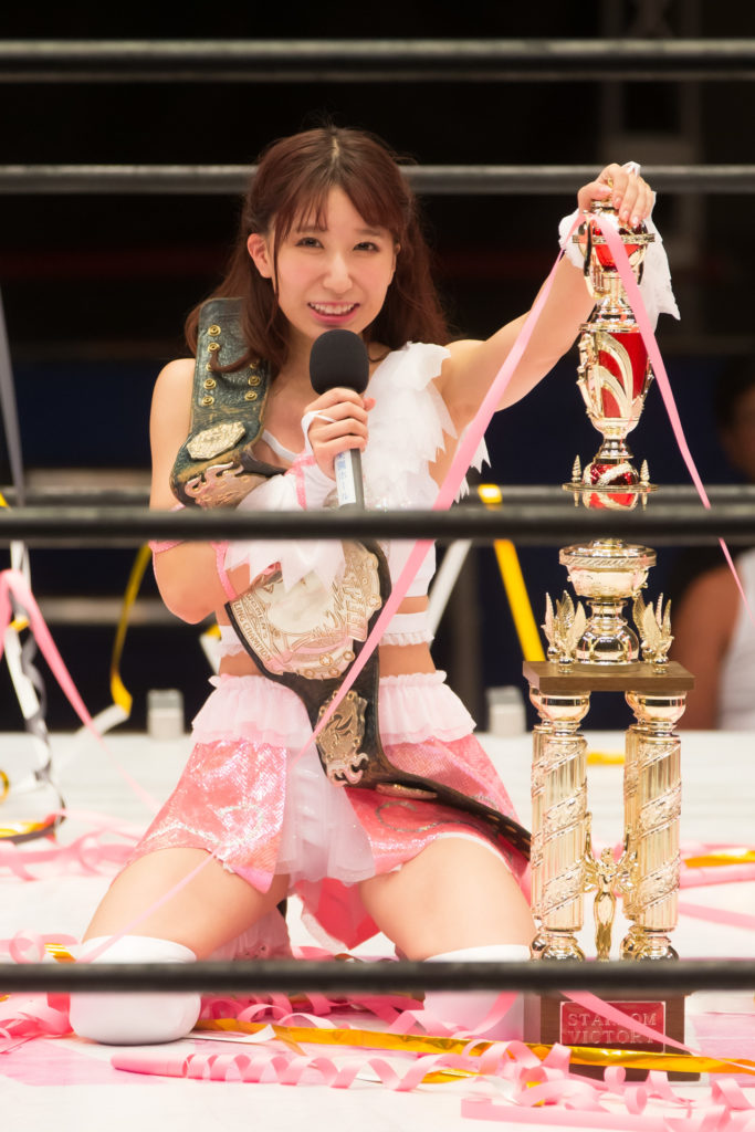 Making a statement as 18th High Speed Champion / Riho on STARDOM High Speed Championship match 16 (8/10/2019)