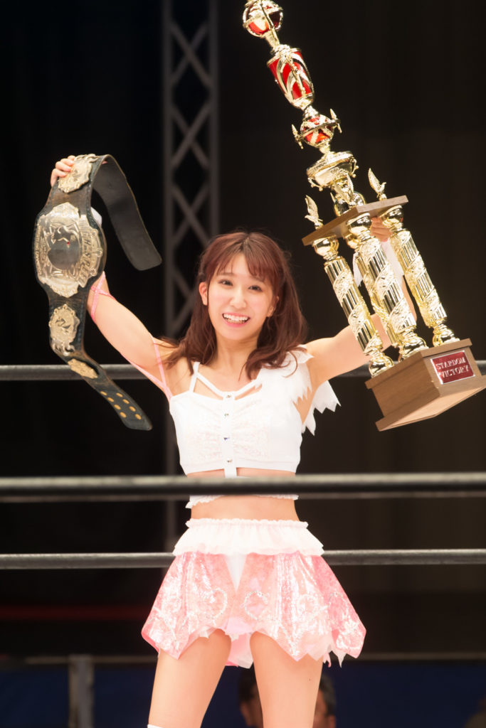 With the belt and trophies / Riho on STARDOM High Speed Championship match 17 (8/10/2019)