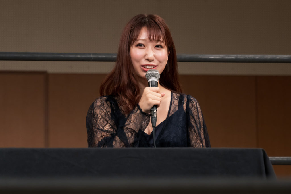 Riho on the open conference for DDT Ultimate Party 2019 08